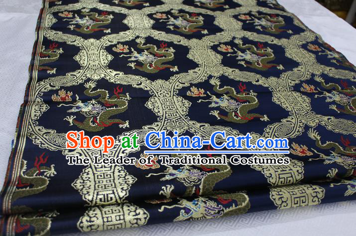 Chinese Traditional Ancient Costume Palace Dragon Pattern Cheongsam Navy Nanjing Brocade Xiuhe Suit Satin Fabric Hanfu Material