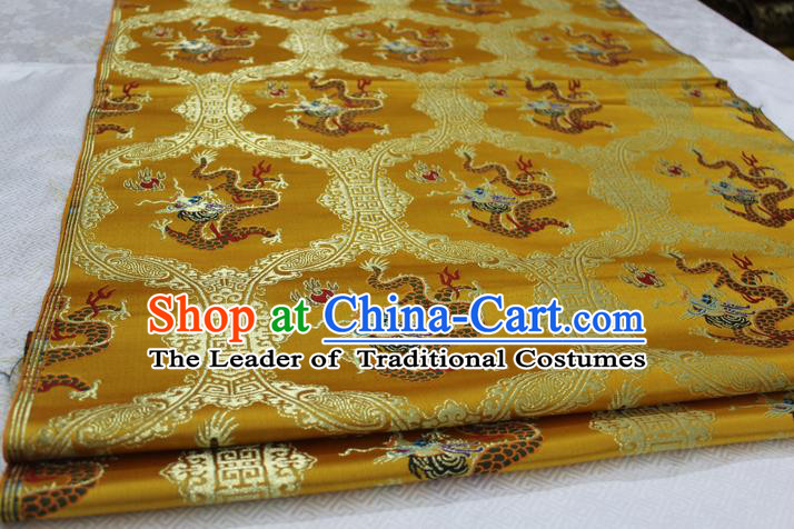 Chinese Traditional Ancient Costume Palace Dragon Pattern Cheongsam Golden Nanjing Brocade Xiuhe Suit Satin Fabric Hanfu Material
