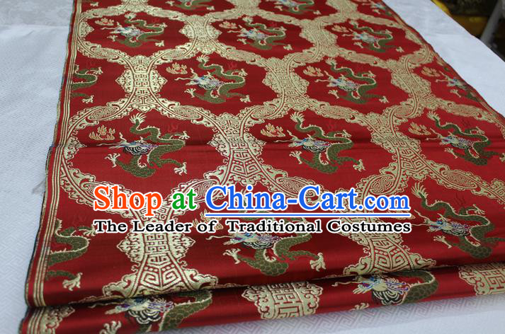 Chinese Traditional Ancient Costume Palace Dragon Pattern Cheongsam Purplish Red Nanjing Brocade Xiuhe Suit Satin Fabric Hanfu Material