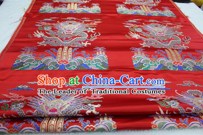 Chinese Traditional Ancient Costume Palace Dragon Pattern Cheongsam Red Nanjing Brocade Xiuhe Suit Satin Fabric Hanfu Material