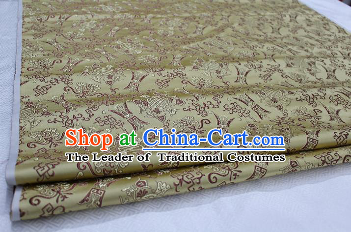 Chinese Traditional Ancient Costume Palace Pattern Cheongsam Light Golden Nanjing Brocade Xiuhe Suit Satin Fabric Hanfu Material