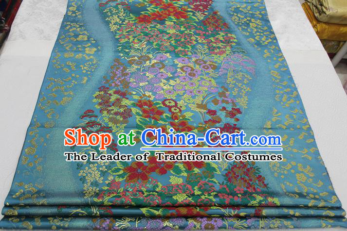 Chinese Traditional Ancient Costume Palace Flowers Pattern Cheongsam Blue Brocade Xiuhe Suit Satin Fabric Hanfu Material