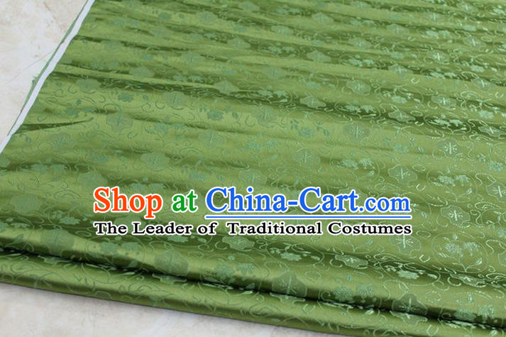 Chinese Traditional Ancient Costume Palace Pattern Cheongsam Mongolian Robe Green Brocade Tang Suit Satin Fabric Hanfu Material