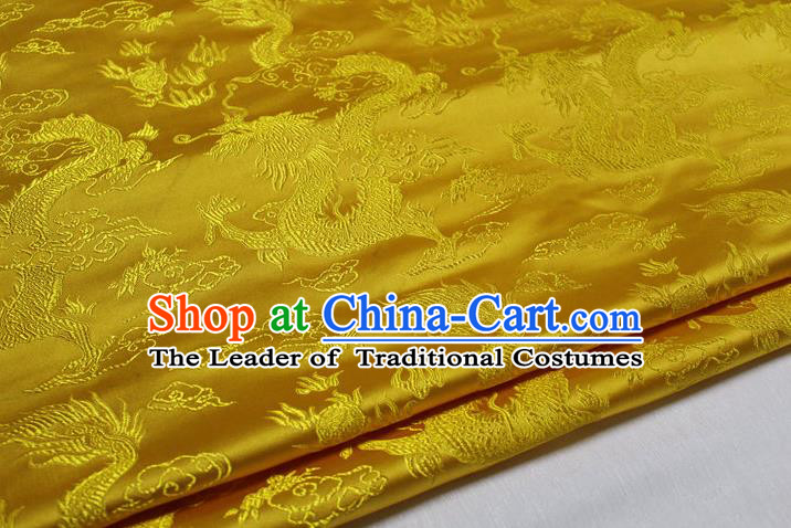 Chinese Traditional Ancient Costume Palace Dragons Pattern Cheongsam Mongolian Robe Yellow Brocade Tang Suit Satin Fabric Hanfu Material
