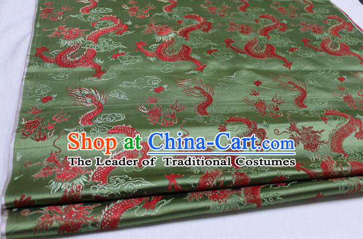 Chinese Traditional Ancient Costume Palace Dragons Pattern Cheongsam Mongolian Robe Green Brocade Tang Suit Satin Fabric Hanfu Material