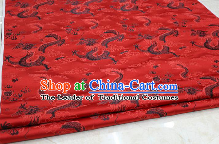 Chinese Traditional Ancient Costume Palace Dragons Pattern Cheongsam Mongolian Robe Red Brocade Tang Suit Satin Fabric Hanfu Material