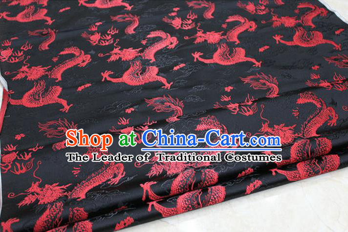 Chinese Traditional Ancient Costume Palace Dragons Pattern Cheongsam Mongolian Robe Black Brocade Tang Suit Satin Fabric Hanfu Material