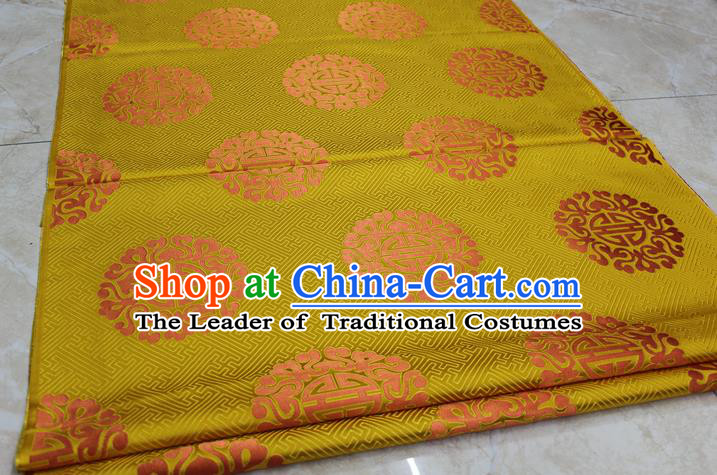 Chinese Traditional Ancient Costume Palace Pattern Cheongsam Mongolian Robe Yellow Brocade Tang Suit Satin Fabric Hanfu Material