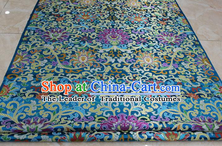 Chinese Traditional Ancient Costume Palace Flowers Pattern Mongolian Robe Cheongsam Blue Brocade Tang Suit Satin Fabric Hanfu Material