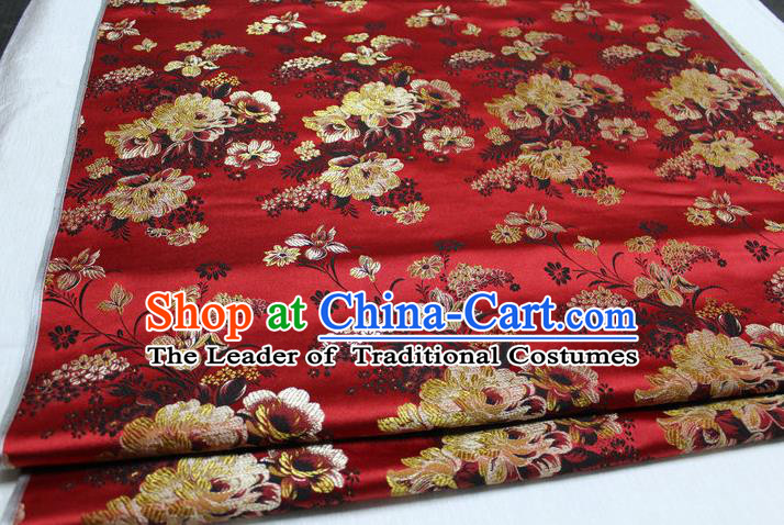 Chinese Traditional Ancient Costume Palace Flowers Pattern Red Brocade Tang Suit Satin Cheongsam Fabric Hanfu Material