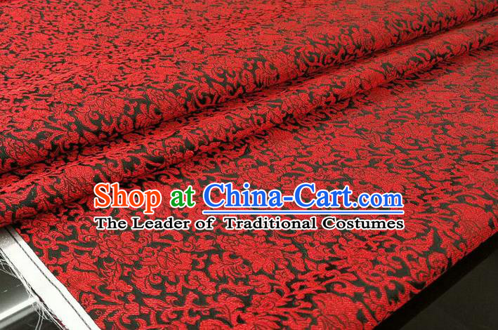 Chinese Traditional Ancient Costume Palace Pattern Cheongsam Black Brocade Tang Suit Satin Mongolian Robe Fabric Hanfu Material