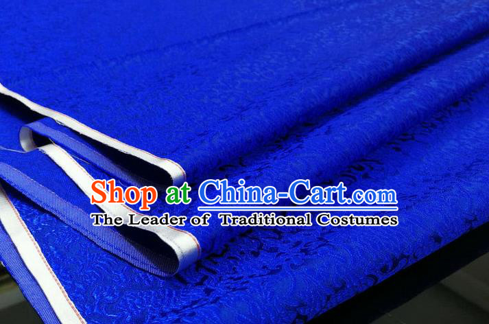 Chinese Traditional Ancient Costume Palace Pattern Cheongsam Royalblue Brocade Tang Suit Satin Mongolian Robe Fabric Hanfu Material