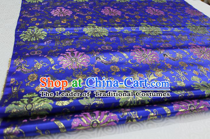 Chinese Traditional Ancient Costume Palace Flowers Pattern Cheongsam Royalblue Brocade Tang Suit Satin Mongolian Robe Fabric Hanfu Material