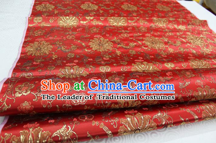 Chinese Traditional Ancient Costume Palace Flowers Pattern Cheongsam Red Brocade Tang Suit Satin Mongolian Robe Fabric Hanfu Material