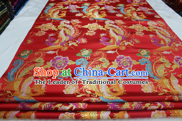 Chinese Traditional Ancient Costume Palace Phoenix Pattern Cheongsam Red Brocade Tang Suit Satin Mongolian Robe Fabric Hanfu Material