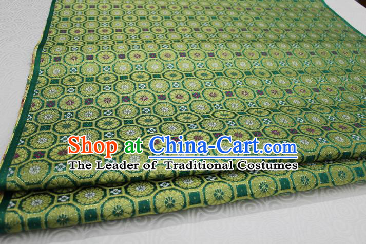 Chinese Traditional Ancient Costume Royal Palace Pattern Cheongsam Green Brocade Tang Suit Satin Mongolian Robe Fabric Hanfu Material