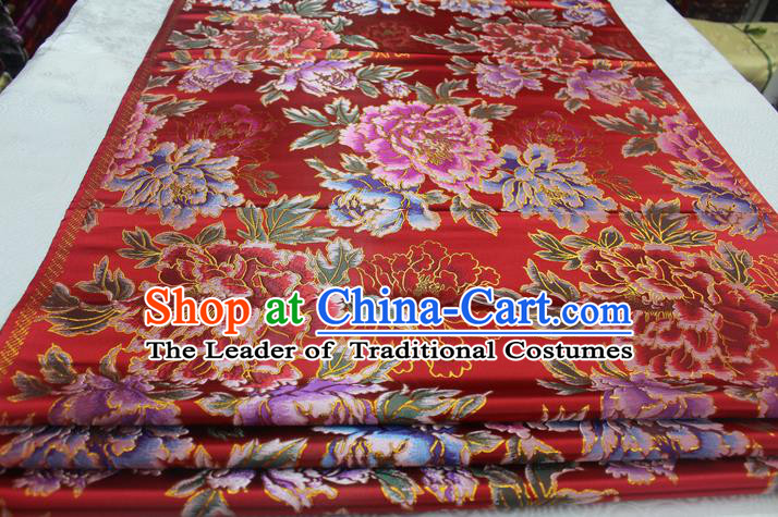 Chinese Traditional Ancient Costume Royal Palace Peony Pattern Cheongsam Red Brocade Tang Suit Satin Fabric Hanfu Material