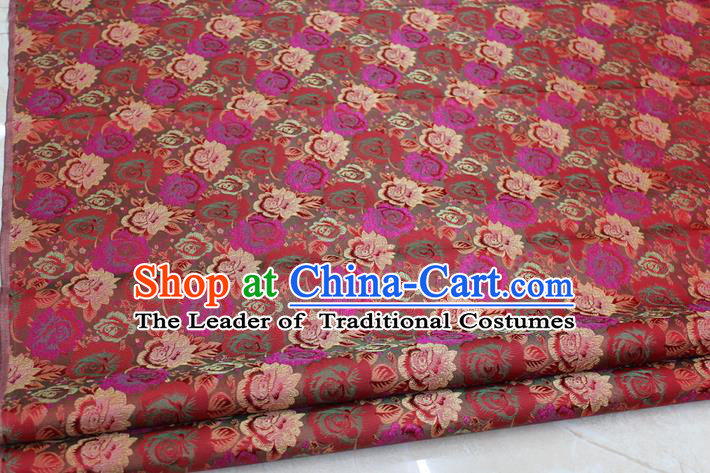 Chinese Traditional Ancient Costume Royal Palace Peony Flower Pattern Cheongsam Red Brocade Tang Suit Satin Fabric Hanfu Material
