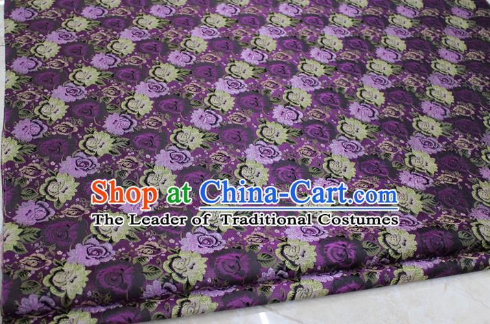 Chinese Traditional Ancient Costume Royal Palace Peony Flower Pattern Cheongsam Purple Brocade Tang Suit Satin Fabric Hanfu Material