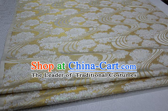 Chinese Traditional Ancient Costume Palace Pattern Mongolian Robe Light Yellow Brocade Tang Suit Satin Fabric Hanfu Material