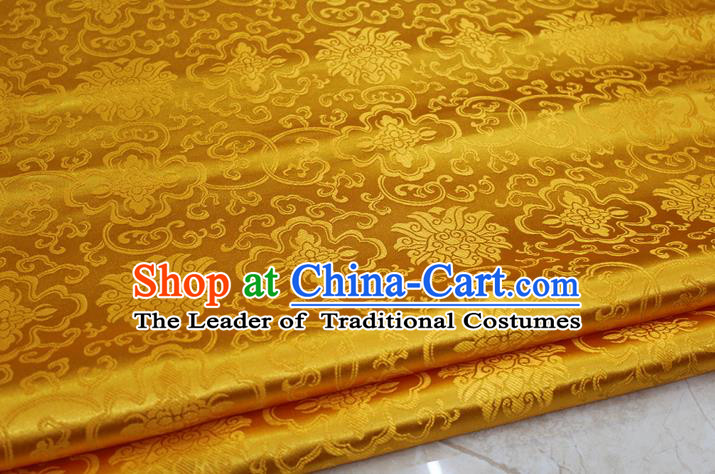 Chinese Traditional Ancient Costume Palace Pattern Mongolian Robe Yellow Brocade Tang Suit Satin Cheongsam Fabric Hanfu Material