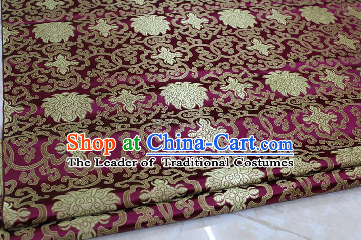 Chinese Traditional Ancient Costume Palace Pattern Mongolian Robe Purple Brocade Tang Suit Satin Cheongsam Fabric Hanfu Material