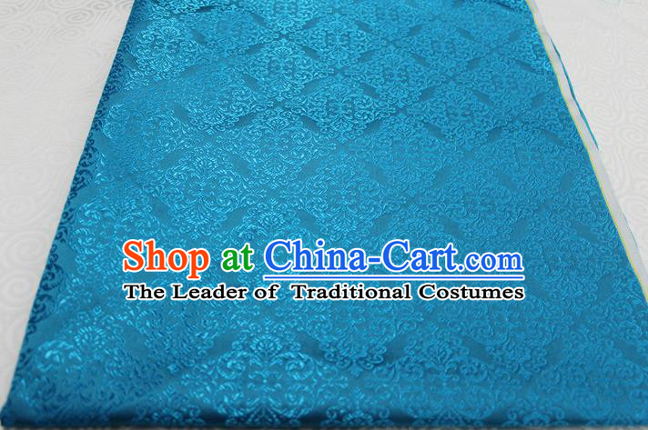 Chinese Traditional Ancient Costume Palace Pattern Cheongsam Blue Brocade Tang Suit Satin Cheongsam Fabric Hanfu Material