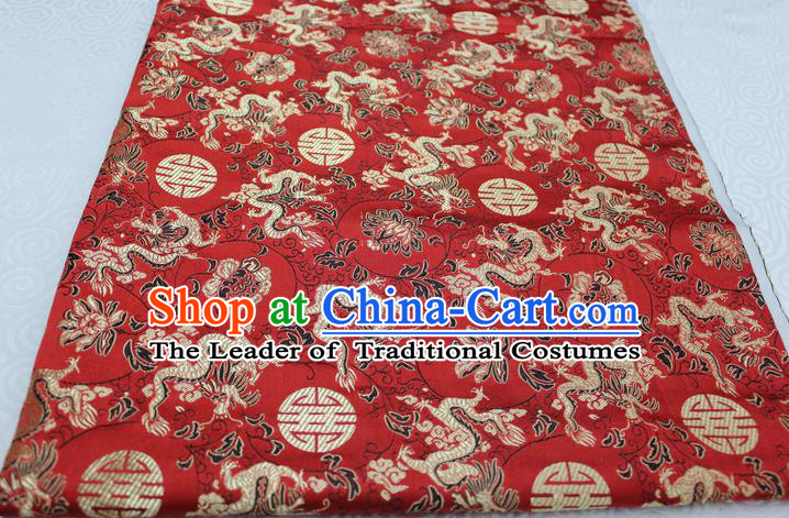 Chinese Traditional Ancient Costume Palace Longevity Dragons Pattern Mongolian Robe Red Brocade Tang Suit Satin Fabric Hanfu Material