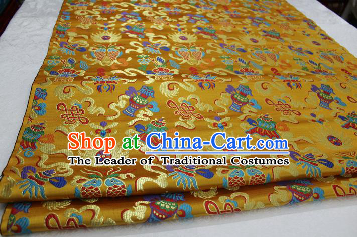 Chinese Traditional Ancient Costume Palace Chinese Knots Pattern Mongolian Robe Yellow Brocade Tang Suit Satin Cheongsam Fabric Hanfu Material