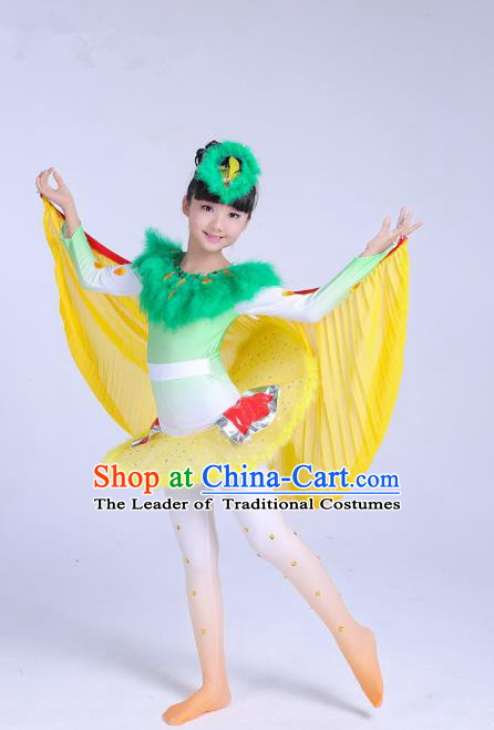 Traditional Chinese Stage Performance Cuckoo Dance Costume, Folk Dance Drum Dance Uniform Yangko Clothing for Kids