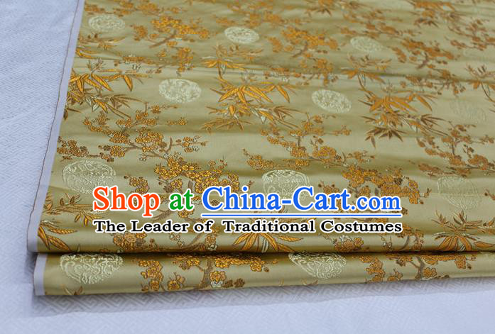 Chinese Traditional Ancient Costume Royal Palace Bamboo Pattern Tang Suit Yellow Brocade Cheongsam Satin Fabric Hanfu Material
