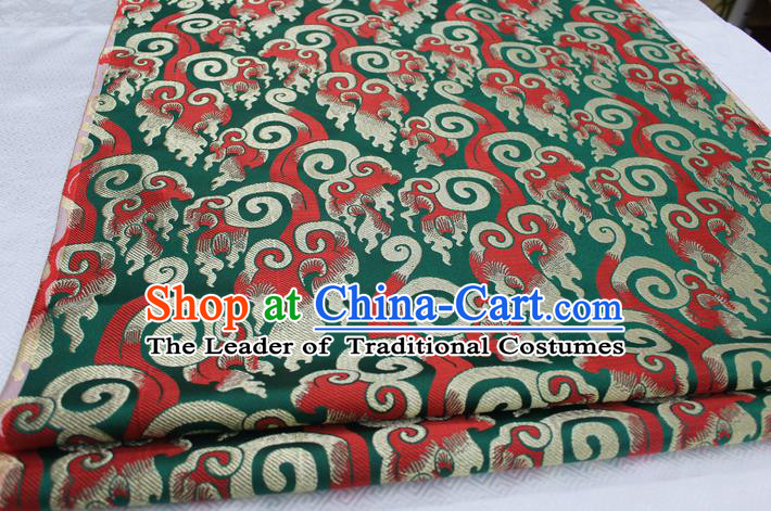 Chinese Traditional Ancient Costume Royal Palace Pattern Tang Suit Green Brocade Cheongsam Satin Fabric Hanfu Material