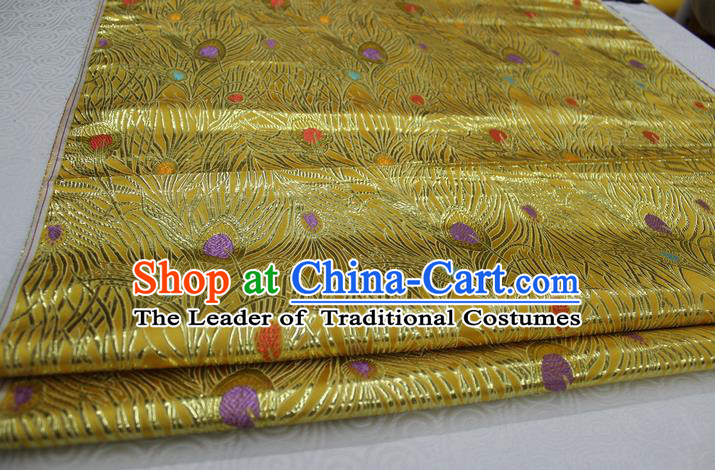 Chinese Traditional Ancient Costume Royal Palace Feather Pattern Mongolian Robe Tang Suit Yellow Brocade Cheongsam Satin Fabric Hanfu Material
