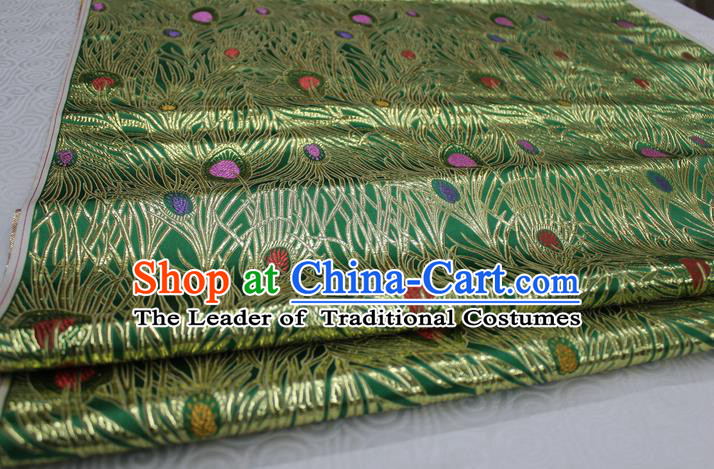Chinese Traditional Ancient Costume Royal Palace Feather Pattern Mongolian Robe Tang Suit Green Brocade Cheongsam Satin Fabric Hanfu Material