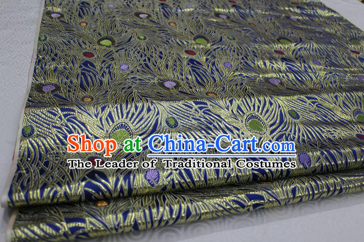 Chinese Traditional Ancient Costume Royal Palace Feather Pattern Mongolian Robe Tang Suit Blue Brocade Cheongsam Satin Fabric Hanfu Material