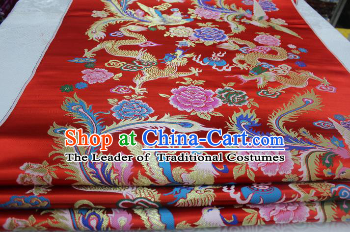 Chinese Traditional Ancient Costume Royal Palace Phoenix Peony Pattern Tang Suit Xiuhe Suit Red Brocade Satin Fabric Hanfu Material