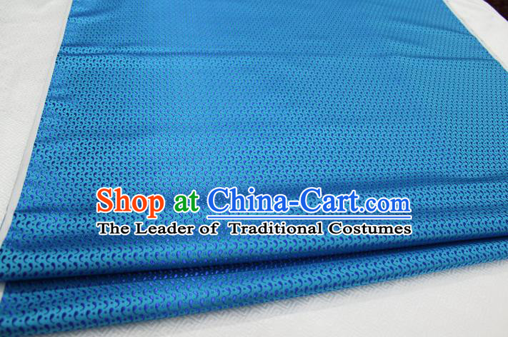 Chinese Traditional Ancient Costume Royal Palace Pattern Tang Suit Mongolian Robe Lake Blue Brocade Satin Fabric Hanfu Material