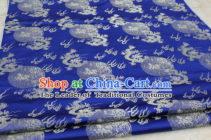 Chinese Traditional Ancient Costume Royal Palace Fire Dragon Pattern Tang Suit Mongolian Robe Blue Brocade Satin Fabric Hanfu Material