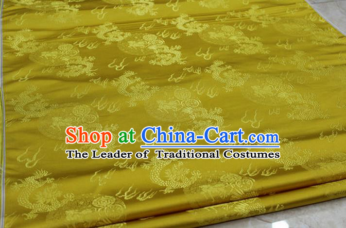 Chinese Traditional Ancient Costume Royal Palace Fire Dragon Pattern Tang Suit Mongolian Robe Yellow Brocade Satin Fabric Hanfu Material
