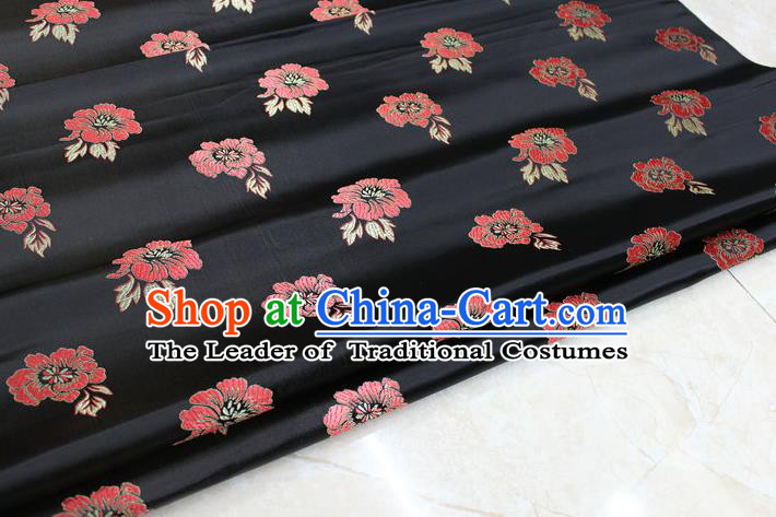 Chinese Traditional Ancient Costume Royal Palace Rose Pattern Tang Suit Cheongsam Black Brocade Satin Fabric Hanfu Material
