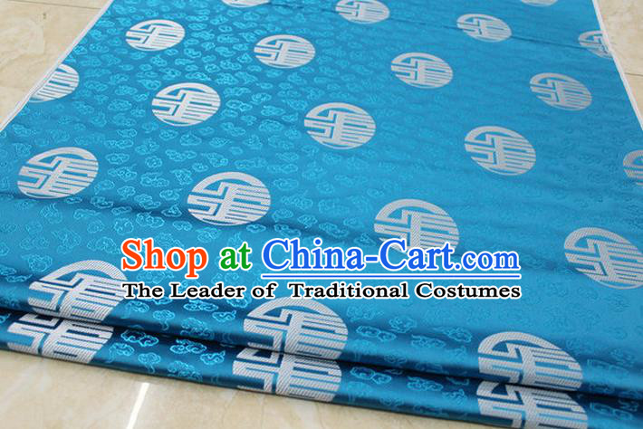 Chinese Traditional Ancient Costume Royal Printing Pattern Tang Suit Mongolian Robe Blue Brocade Satin Fabric Hanfu Material