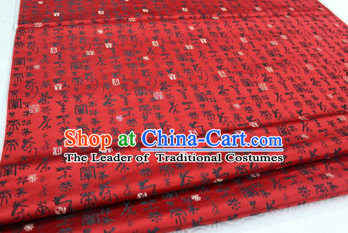 Chinese Traditional Ancient Costume Royal Printing Calligraphy Pattern Tang Suit Mongolian Robe Red Brocade Satin Fabric Hanfu Material