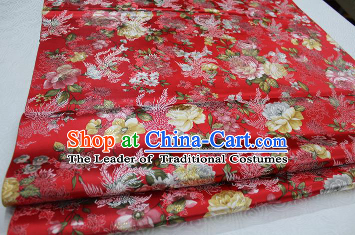 Chinese Traditional Ancient Costume Royal Phoenix Pattern Tang Suit Wedding Dress Red Brocade Satin Fabric Hanfu Material