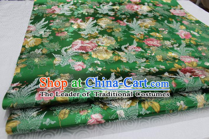 Chinese Traditional Ancient Costume Royal Phoenix Pattern Tang Suit Wedding Dress Green Brocade Cheongsam Satin Fabric Hanfu Material