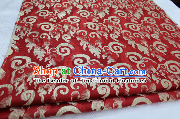 Chinese Traditional Ancient Costume Royal Palace Pattern Tang Suit Red Brocade Cheongsam Satin Fabric Hanfu Material