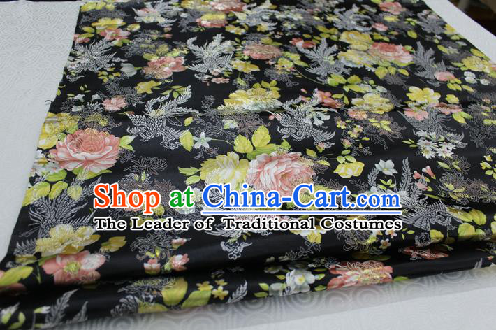 Chinese Traditional Ancient Costume Royal Phoenix Pattern Tang Suit Wedding Dress Black Brocade Cheongsam Satin Fabric Hanfu Material