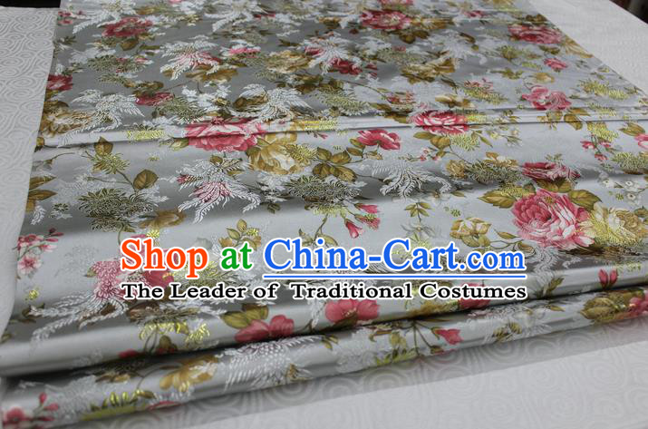 Chinese Traditional Ancient Costume Royal Phoenix Pattern Tang Suit Wedding Dress Grey Brocade Cheongsam Satin Fabric Hanfu Material
