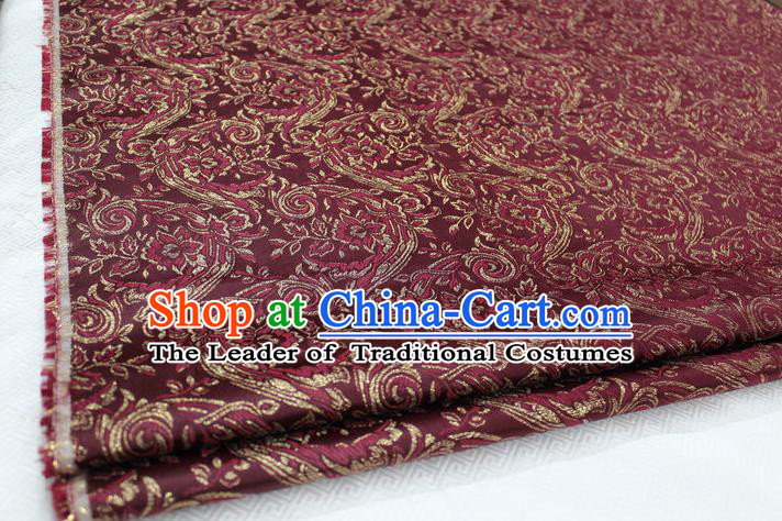 Chinese Traditional Ancient Costume Royal Palace Tang Suit Wine Red Brocade Mongolian Robe Satin Fabric Hanfu Material
