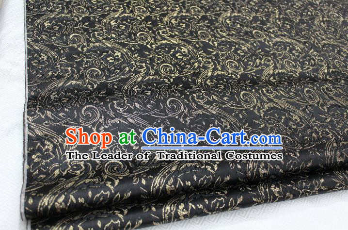 Chinese Traditional Ancient Costume Royal Palace Tang Suit Black Brocade Mongolian Robe Satin Fabric Hanfu Material