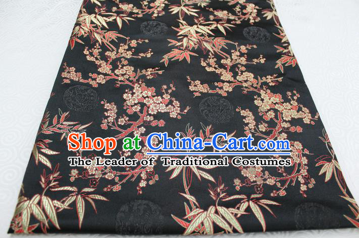 Chinese Traditional Ancient Costume Royal Palace Bamboo Pattern Tang Suit Black Brocade Cheongsam Satin Fabric Hanfu Material